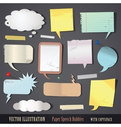 Set of textured paper speech bubbles vector