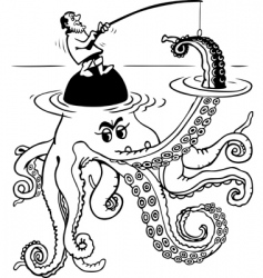 Fisherman catch's octopus vector