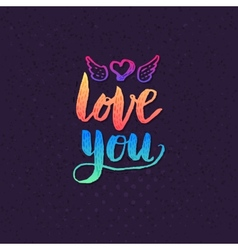 Attractive love you texts on violet background vector