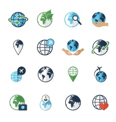 Globe earth icons set flat vector