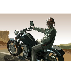 Gray haired man with a beard on a motorcycle vector