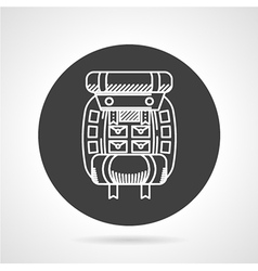 Hiking rucksack black round icon vector