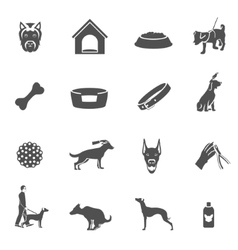 Dog icons black vector