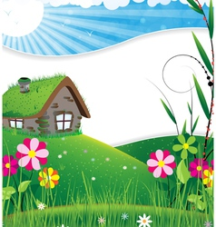 House in a meadow vector