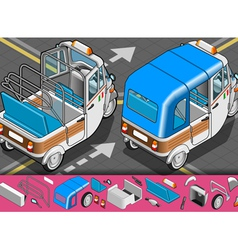 Isometric italian rickshaw in rear view vector