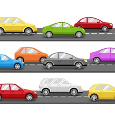 Cars on road transport background vector