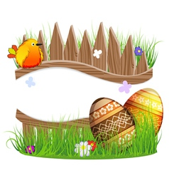 Little bird and easter eggs vector