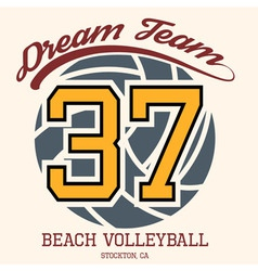 Beach volleyball team t-shirt typography vector