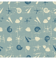 Vintage style seamless pattern with seashells vector