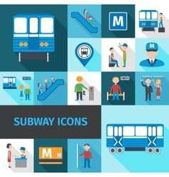 Subway icons flat vector