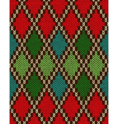 Seamless christmas knitted pattern vector