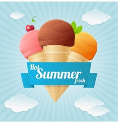 Summer vintage ice cream poster vector
