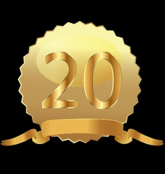 20 gold seal with ribbon vector