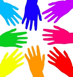 Rainbow hands vector