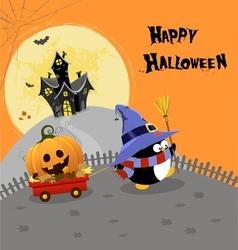 Halloween penguin with pumpkin vector