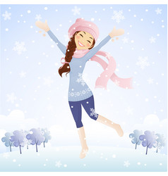 Winter jumping girl vector