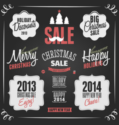 Chalkboard style vintage christmas elements vector