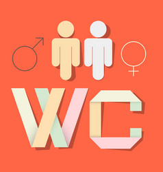 Wc title with paper cut people and man woman vector