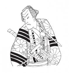Japanese samurai vector