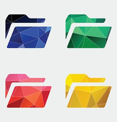 Folder icon abstract triangle vector