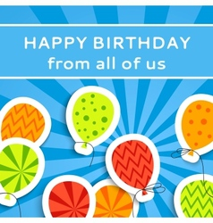 Happy birthday postcard with balloons vector