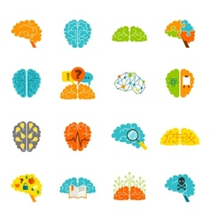 Brain icons flat vector