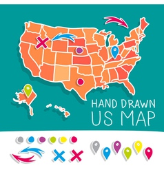 Hand drawn us map vector