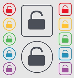 Open padlock icon sign symbol on the round and vector