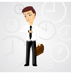 Business man with briefcase checking time vector