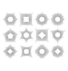 Line monogram frame set vector