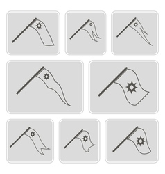 Monochrome icons with flags vector