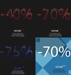 70 75 icon set of percent discount on abstract vector