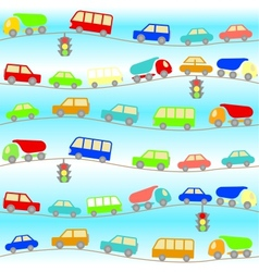 Background with cartoon cars vector