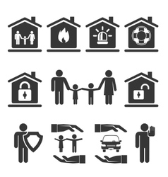 Family home and auto insurance icon designs vector