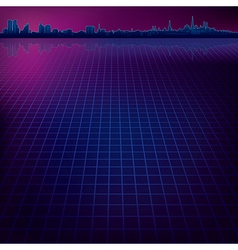 Abstract dark background with silhouette of city vector