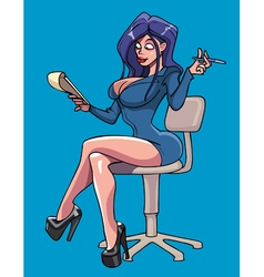 Cartoon sexy woman with a notepad sits on a chair vector