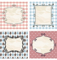 Vintage frames on the old fabric vector