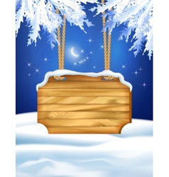Winter night landscape wooden board vector