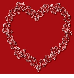 Floral frame in the shape of hearts on a red vector