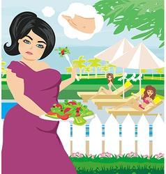 Fat girl eats a salad vector