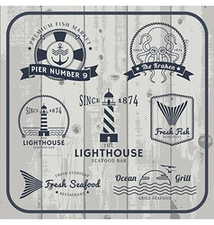 Nautical and seafood labels set vector