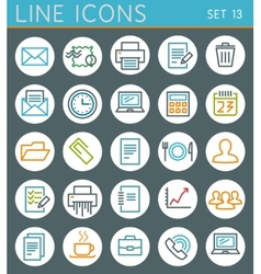 Line geometric icons set summer holidays web vector