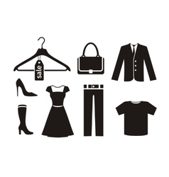 Clothes icon set in black vector
