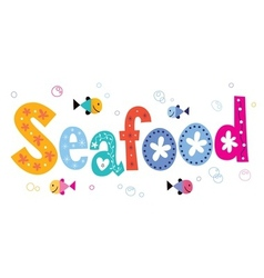 Seafood text vector