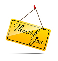 Thank you on yellow sign message symbol isolated vector