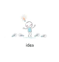 The man found his idea concept ideas vector