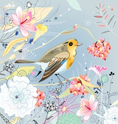 Floral background with a bird vector