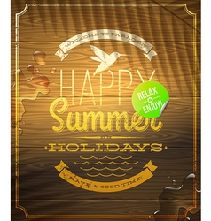 Summer holidays greeting emblem and sticker vector