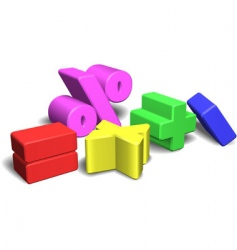 3d math symbols or signs vector