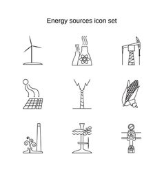 Energy sources icon set vector